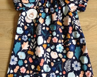 Simple Cotton Dress - girls age 1-2 - blue floral