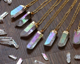 Pastel Angel Aura Quartz Gold Dipped Necklace - Rough Clear Raw Point Pink Yellow Spirit Rainbow Crystal Plated Chain, Natural Layering