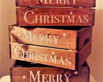 Christmas Eve Treat Box Wooden Crate Small Xmas Gift Hamper