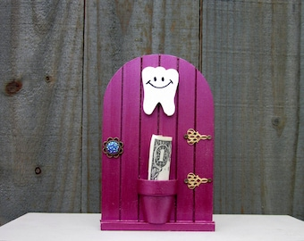 Tooth Fairy, Money Holder, Fairy Door, Baby Tooth, Pink, Metallic, Lost Tooth, Painted Wood, Childs Gift