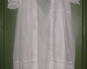 Stunning Antique Christening, Baptismal gown, Tucks, Lace, And More Tucks and Lace