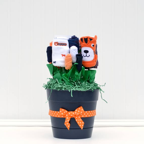 Safari Baby Gift, Jungle Baby Gift, Tiger Baby Shower, Orange Navy Nursery, Gift Idea for Baby Boy, Sister Baby Gift, Baby Boy Basket