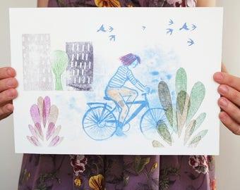 bike illustration digital print, bicycle wall art print, home decor idea for bike lovers