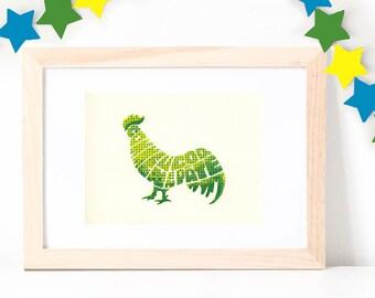 Wall Art ~ Rooster ~ A5 Hand Printed ArtPrint ~ Yellow, Blue, Green