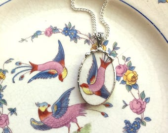 Broken china jewelry necklace pendant - antique colorful bird of paradise - made from antique broken china 1920