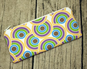 Large Zipper Pouch, Pencil Pouch, Gadget Bag, Cosmetic Bag - Twisting circle (ZL-30)