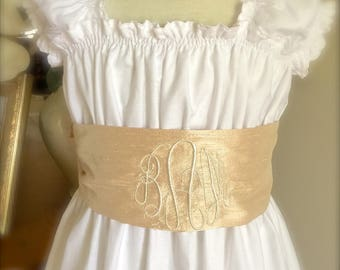 Size 6 to 16  Simple and Elegant Monogram Personalized Sash and Flower Girl Wedding Beach Portriat Dress