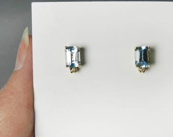 Vintage Emerald Cut Blue Topaz and Diamond Stud Earrings Large 14k Gold Light Blue Gemstone Studs