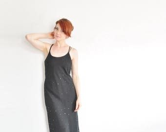 sheer black paillette sequin dress . cage back gown . sultry summer evening wear .medium