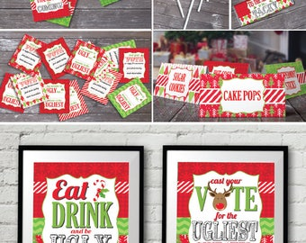 Ugly Sweater Party Complete Set - Voting Ballot, Award Ribbons, Silly Props, Christmas Office Party - Instant Download PDF Printable Kit