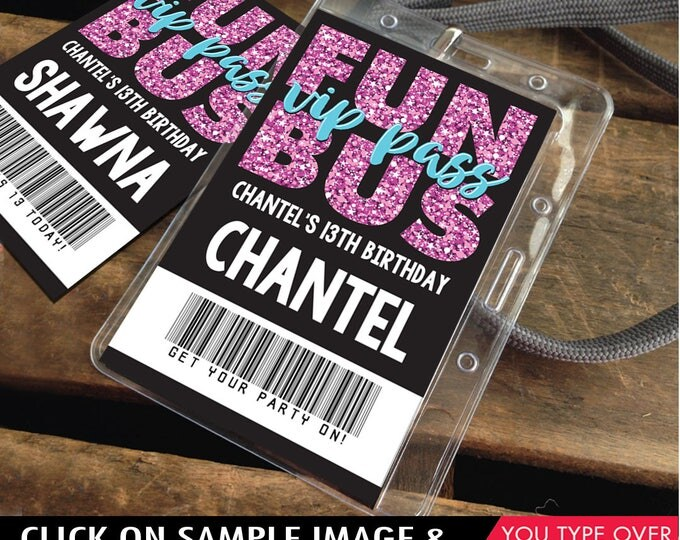 Fun Bus VIP I.D. Badge - Party Bus Favor, Party Favor, Teen ID Badge, Tween Badges   Instant Download D.I.Y. Printable PDF Kit