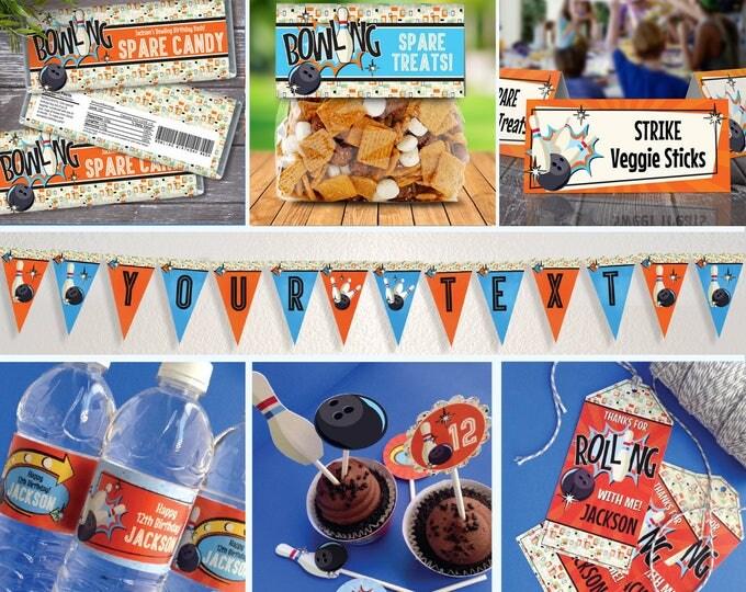 Bowling Party Set - Bowling Decor, Bowling Birthday, Retro Bowling, Blue/Orange | Editable Text INSTANT Download PDF Printable