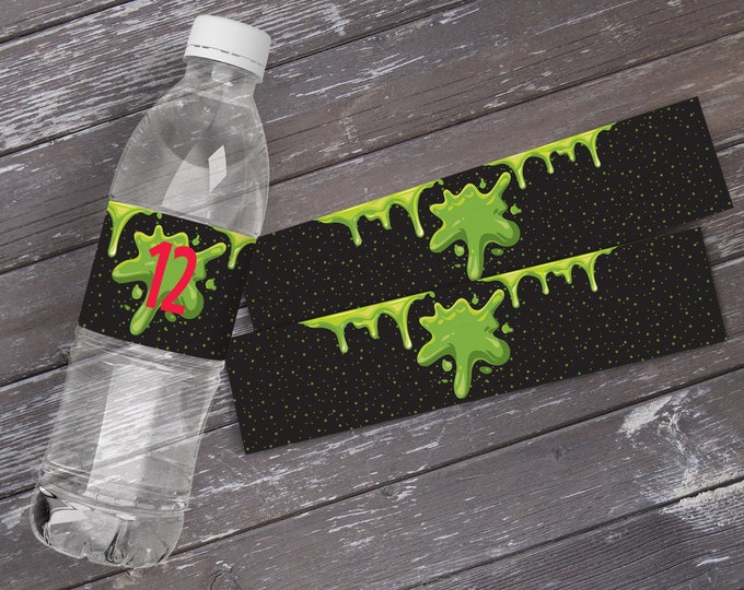 Slime Party Water Bottle Wrappers, Ghost-buster Slime Birthday Party, Bottle Wraps | Editable Text DIY Instant Download PDF Printable