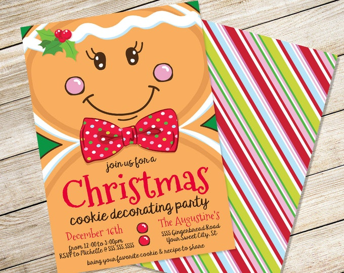 Gingerbread Man Invitation, Cookie Decorating, Christmas Cookie Exchange, Cookies & Cocoa | Editable Text, Instant Download PDF Printable
