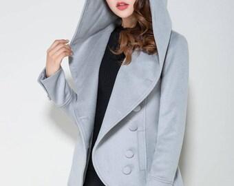 short coat, light grey coat, mini jacket, hooded coat, asymmetrical coat, button coat, wool coat, winter jacket, ladies clothing 1684