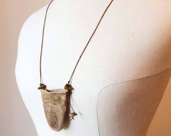 Primitive Pouch for Crystals, Rustic Soft Leather Worn and Old-Looking Necklace for Reenactment, Costume; Outlander, LARP
