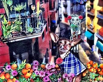 CUSTOM pet portrait dog portrait chihuahua art animal art pet collage flowers