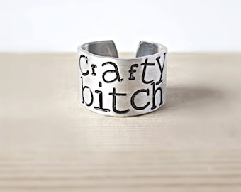 Crafty Bitch, Funny Statement Jewelry, Wide Adjustable Band, Funny Best Friend Jewelry, Sarcastic Jewelry, Funny Stocking Stuffer For Women