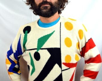 Vintage 80s Rainbow Fancy Lambswool Angora Sweater