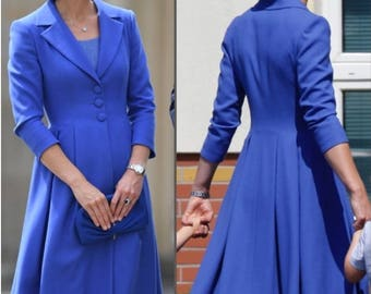kate middleton blue dress swing rockabilly celeb inspired dress custom made