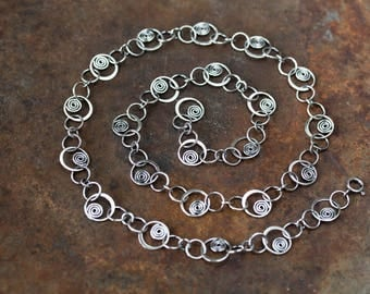 Unique Silver Links Chain Necklace, solid sterling silver necklace chain, Hammered spirals in circles, Artisan metalsmith jewelry, Statement