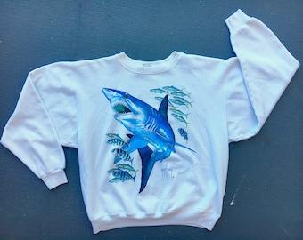 Guy Harvey sharks 1980s vintage sweatshirt - soft white size large