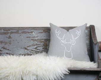 "18""x18"" Light Gray Linen with White Ink ""Deer"" Pillow Cover"