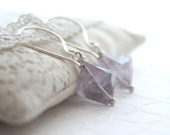Fluorite Gemstone Earrings , Sterling Silver Drop Earrings , Lavender Purple