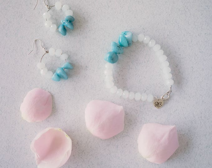 Aurora Crystal Quartz beaded bracelet and earring set.