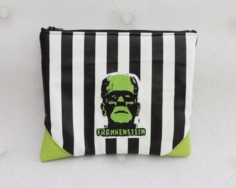 Frankenstein creature white purse- creepy striped pouch-gothic - make up bag- steampunk-halloween- horror movie
