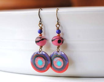 Purple Earrings, Abstract Earrings, Hand Painted Earrings, Pebeo Jewelry, Unique Artisan Jewelry, Boho Hippie Earrings, Artisan Earrings,
