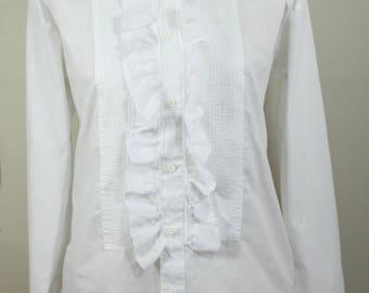 White Tuxedo Shirt, Pintuck Pleats, Eyelet Lace Ruffled Placket & Cuffs Fashion Gear Size S Prince Pirate Vampire Victorian Costume