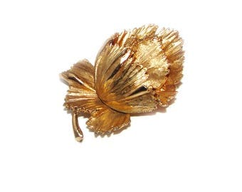 Large Rose Big & Bold 3D Heavy Gold Gilt Figural Cabbage Rose Flower Brooch Pin Vintage Costume Jewelry