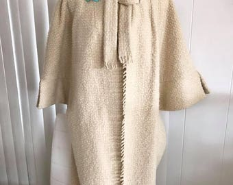 Vintage 1960's Dore of Beverly Hills (designer to Jackie Kennedy) Wool Boucle Swing Coat -- Size M-L
