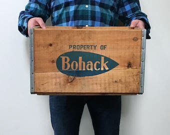 Vintage Wooden Crate, Bohack Grocery, Grocery Box, Dairy Crate, Rustic Decor, Record Storage, Bookcase, Magazine Holder