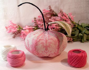 Pincushion- Pink Lady Apple- Soft Pink Prints, Apple Pincushion- Ready to Ship