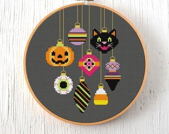 PDF Pattern - Halloween Baubles Cross Stitch Pattern, Vintage Halloween Ornaments Cross Stitch Pattern, Black Cat Cross Stitch Pattern