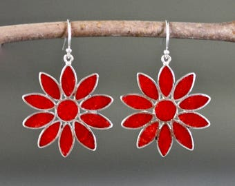 Red Flower Earrings - Coral Earrings - Bali Silver Earrings - Coral Dangles - Coral Jewelry - Red Coral - Statement Jewelry - Gift for Her