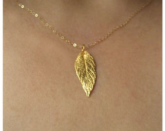 Gold Leaf Necklace, Big Gold Leaf, 24K Gold Plated Sterling Silver Necklace, Gold Pendant Necklace, Autumn Jewelry, Gift Ideas For Women