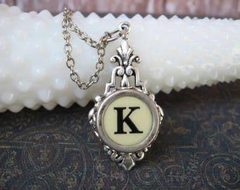 Typewriter Key Jewelry - Typewriter Necklace - Letter K - Typewriter Charm - Vintage Key