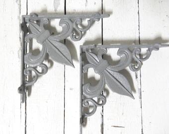 Gray Shelf Corner Brackets, Fleur De Lis Decor, French Cottage, Paris Apartment, Cottage Chic, Ornate Wall Brackets, Architectural Detail