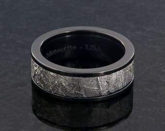 Gibeon Meteorite Ring Gibeon Meteorite Wedding Bands - USA Made To Order