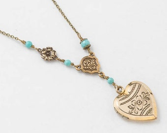 Heart Locket, Locket Necklace in Gold Filled with Genuine Pearl, White Opal, Bird Charm, Leaf & Flower Engraving, Vintage Jewelry, Gift