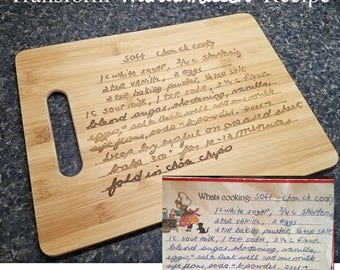 Handwritten Recipe - Turn a Loved One's or Favorite Recipe into a Custom Engraved Bamboo Cutting Board 15x11 inches OR 12x9 inches