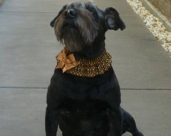 """Dog Ruffle Collar, Fall Harvest Beads Dog Scrunchie Collar - shimmering copper bow - Size M: 14"""" to 16"""" neck"""
