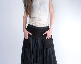 Black Yoga Pants, Women Harem Pants, Cotton Pants, Drop Crotch Pants, Low Crotch Pants, Baggy Trousers, Aladdin Pants, Oriental Clothing