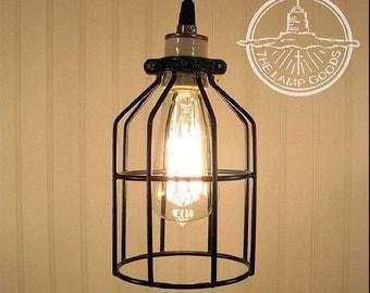 Industrial Cage PENDANT Light with Edison Bulb - Rustic Modern Loft Kitchen Ceiling Lighting Fixture Flush & Edison bulb pendant | Etsy azcodes.com