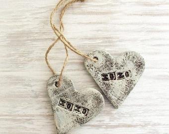 XOXO Ornament / Salt Dough  / Rustic Heart /  Valentine Heart
