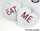 Conversation Hearts Rhinestone Nipple Pasties - SugarKitty Couture