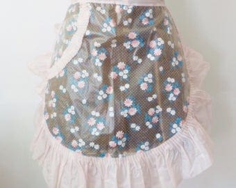 Vintage Feminine Sheer Plastic Half Apron • Sheer Apron with Floral Sprays Pocket and Ruffle • Pink and Clear